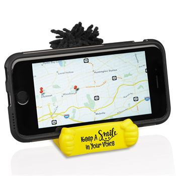 Keep A Smile In Your Voice Mop Topper™ Phone Holder
