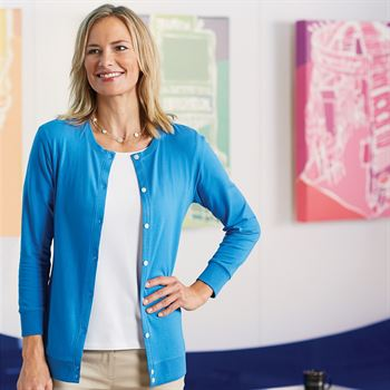 Women's Devon & Jones® Perfect Fit™ Ribbon Cardigan - Embroidery Personalization Available