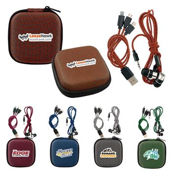 Textured Charging Cable Ear Bud Kit - Personalization Available