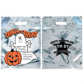 Ghost & Pumpkin Reflective Plastic Trick-Or-Treat Bags - Personalization Available