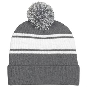 Two-Tone Knit Pom Pom Beanie