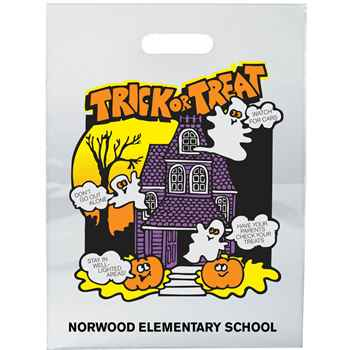 Haunted House Clear Plastic Trick-Or-Treat Bag - Personalized