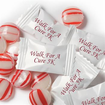 Red & White Striped Peppermints In Personalized Wrappers