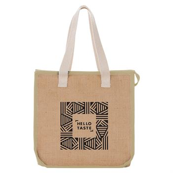 Jute Insulated Grocery Tote Bag