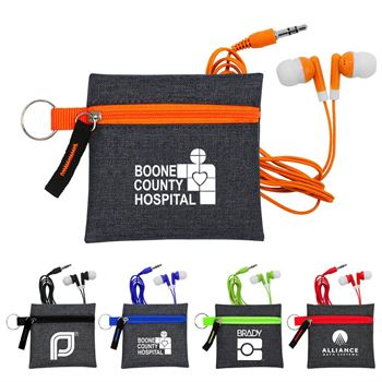 Techie Ear Buds With Pouch - Personalization Available