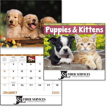 Puppies And Kittens 2019 Calendar - Spiral - Personalization Available