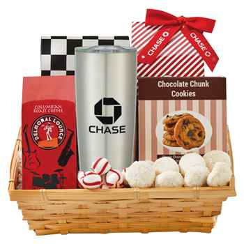 Coffee And Cookie Basket With Himalayan Tumbler 20-Oz. - Personalization Available