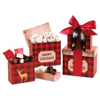 Plaid Tidings Holiday Sweets Tower - Personalization Available