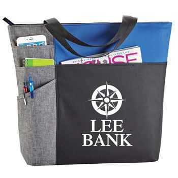 Color Block Pocket Zip Tote - Personalization Available