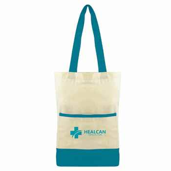 Color Accent Cotton Pocket Tote - Personalization Available