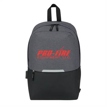 Heathered Two-Tone Computer Backpack with Charging Port - Personalization Available