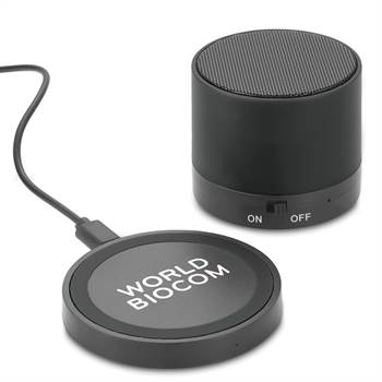 Cosmic Bluetooth® Speaker with Wireless Charging Pad 2-Piece Set - Personalization Available