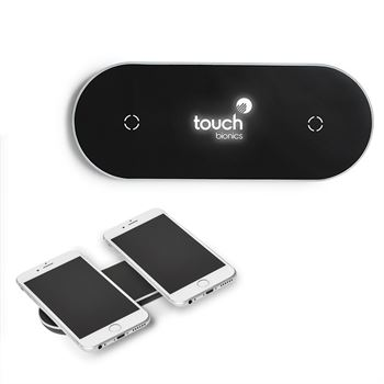 Light-Up-Your-Logo Duo Wireless Charging Pad - Personalization Available