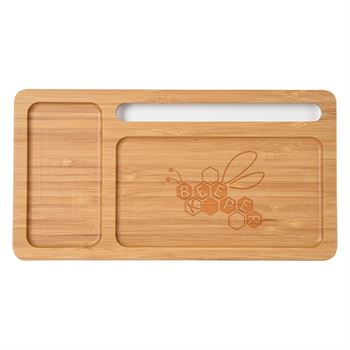 2-In-1 Bamboo Wireless Charging Pad/Desktop Organizer - Personalization Available