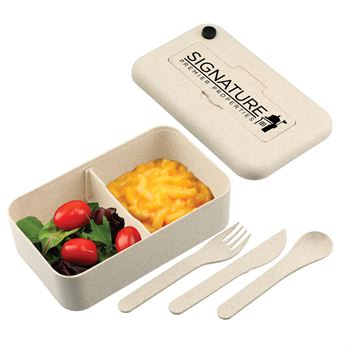 Aiden Bamboo Fiber Lunch Container With Utensil Pocket - Personalization Available