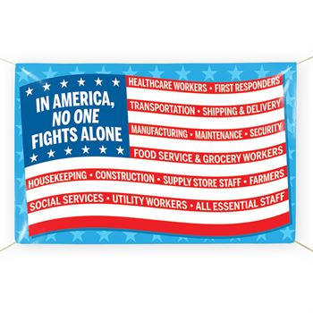 In America, No One Fights Alone 5' x 3' Vinyl Banner