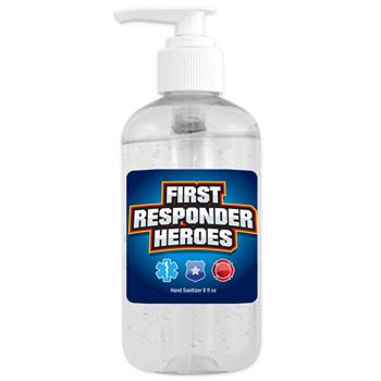 8 Oz. Sanitizer Gel Pump - First Responders Heroes