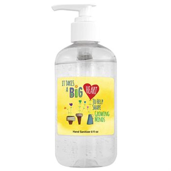 8 Oz. Sanitizer Gel Pump - It takes A Big Heart To Help Shape Growing Minds