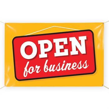Open For Business 5' x 3' Vinyl Banner