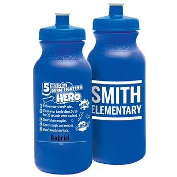 5 Ways To Be A Germ-Fighting Hero Sporty Squeeze Water Bottle 20-oz. - Personalization Available