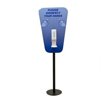 Please Disinfect Your Hands Station Double-Sided Pedestal Display