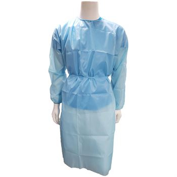 Light Blue Woven Polyester Medical Gown