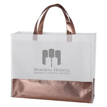 Flair Metallic Accent Non-Woven Tote Bag-Personalization Available