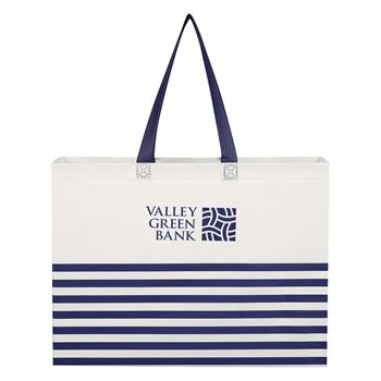 Non Woven Horizontal Stripe Tote Bag-Personalization Available
