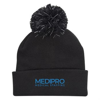 Water-Resistant Pom Beanie with Cuff-Personalization Available