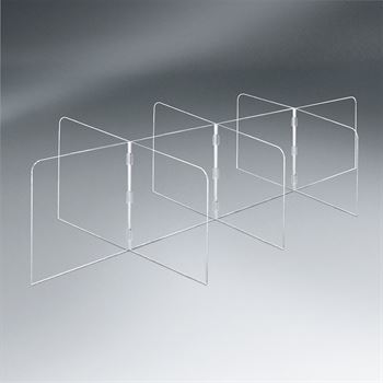 Large Interlock 10 Panel Tabletop Distancing Partition - 1/4