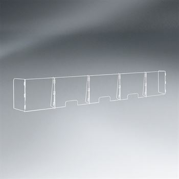 5 Panel Interlocking Counter Barrier Partition With    Three Openings - 1/4