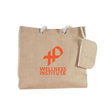 Jute Tote With Mini Pouch