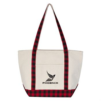 Buffalo Plaid Boat Tote Bag - Personalization Available
