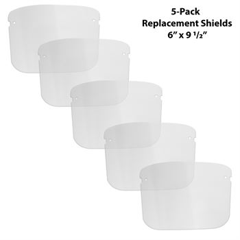 Pack of 5 Youth Replacement Face Shields