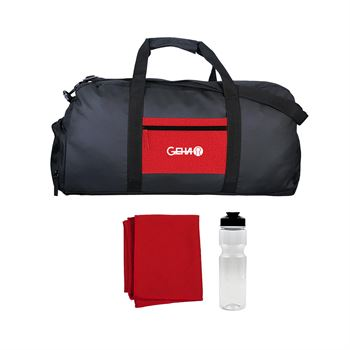 Textured Linen Pocket Duffle Sport Bag-Personalization Available