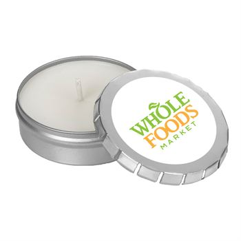 1.6 Oz Scented Candle In Large Silver Push Tin - Full Color Personalization Available