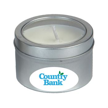 3.5 Oz Scented Candle in Small Window Tin - Full Color Personalization Available