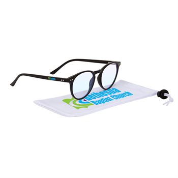 Quinn Blue Blocker Glasses with Microfiber Pouch - Full Color Personalization Available