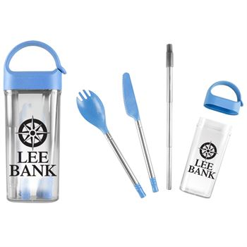 Wheat Straw Utensils in Case - Personalization Available