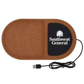 Cork Wireless Charging Pad Desktop Organizer - Personalization Available