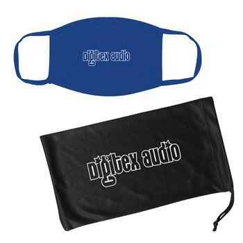 Cotton Reusable Mask and Mask Pouch With Antimicrobial Additive - Personalization Available