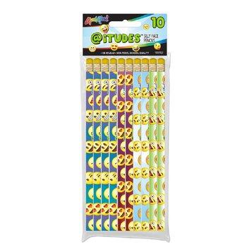 iTudes 10 PK Emoji silly face #2 Fashion Pencils with Eraser