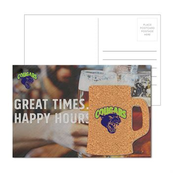 Post Card with Beer Mug Cork Coaster - Personalization Available