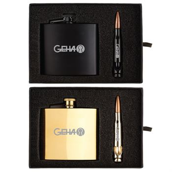 Tactical 5 Oz. Flask And Bullet Bottle Opener Gift Set- Personalization Available