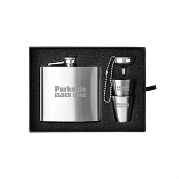 The Kenzie Flask, Shot Glass And Funnel Gift Set- Personalization Available
