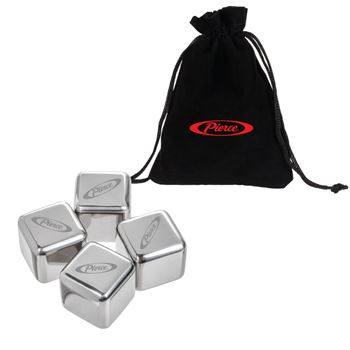 4 Pack Stainless Steel Whiskey Ice Cubes- Personalization Available