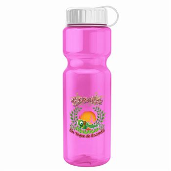 Champion Transparent Bottle with Tethered Lid - 28 oz.-Personalization Available