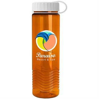 Tritan Wave Bottle with Tethered Lid - 24 Oz.-Personalization Available