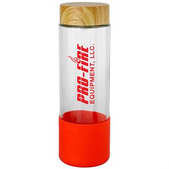 Bamboo 22 Oz Glass Grip Bottle-Personalization Available