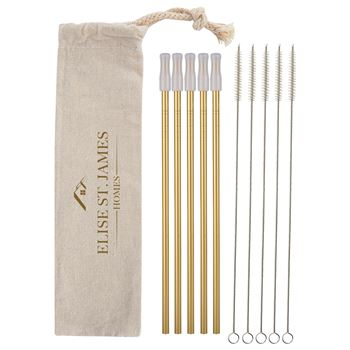 5-Park Park Avenue Stainless Straw Kit with Cotton Pouch -�Personalization Available